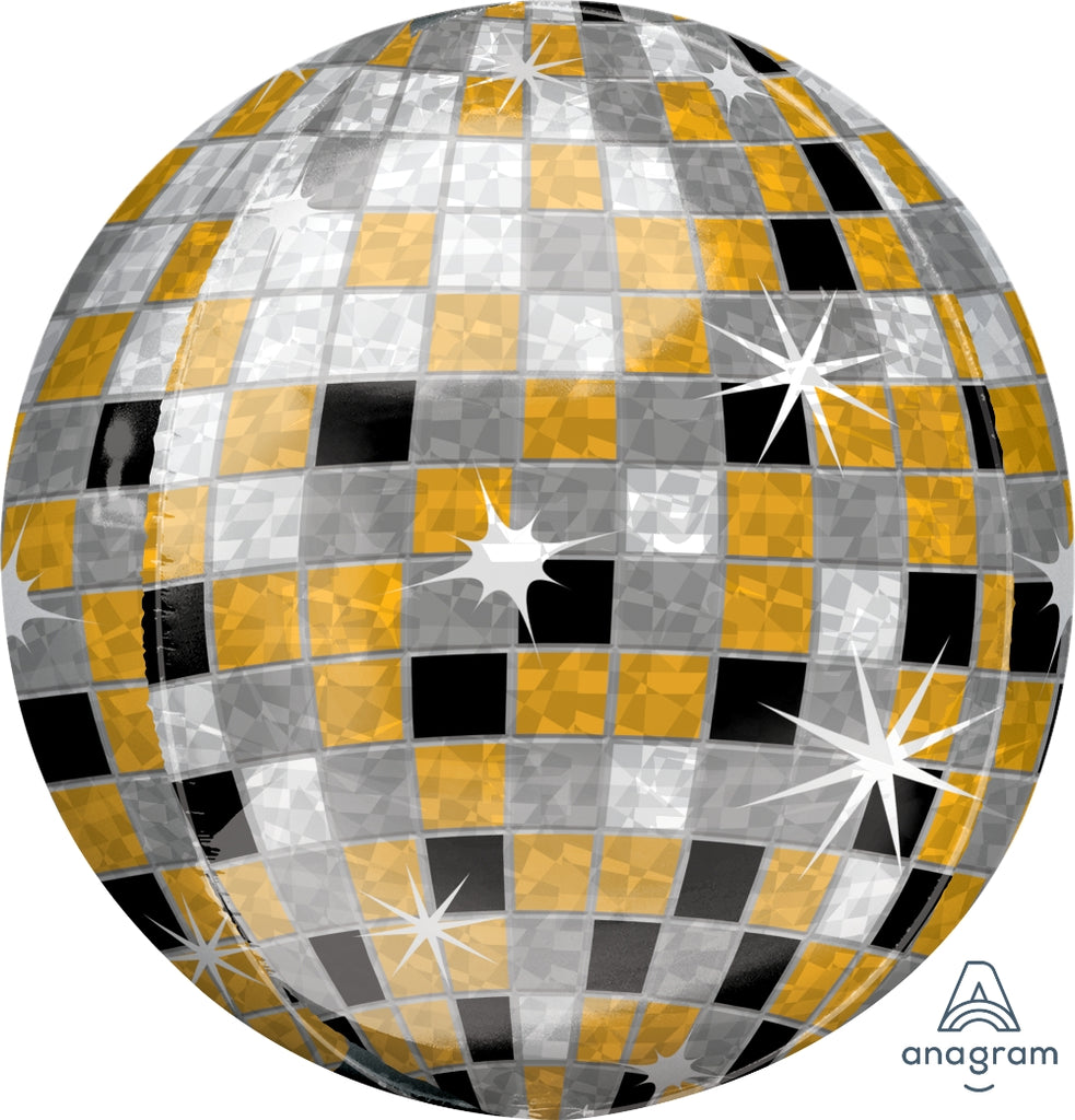 Gold, Silver, Black Disco Ball Orbz Balloon