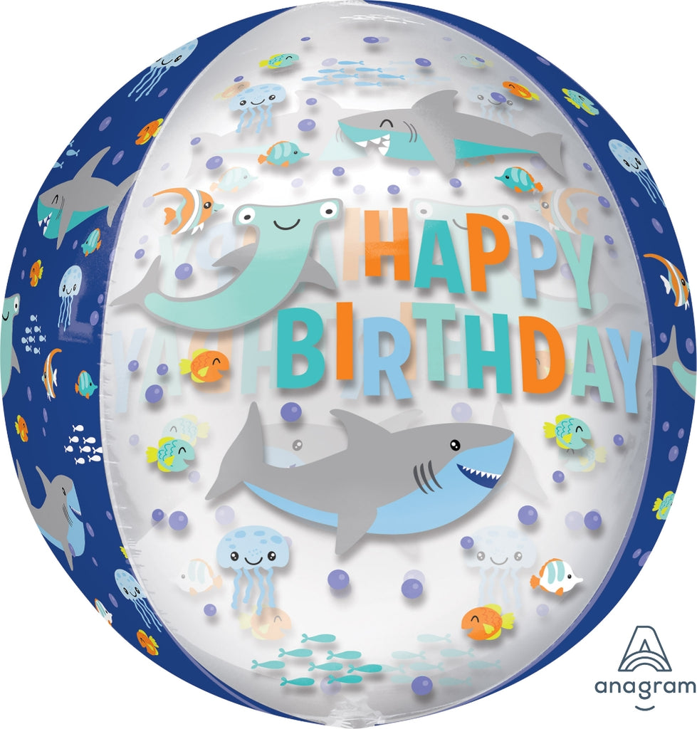 Happy Birthday Sharks Orbz Balloon