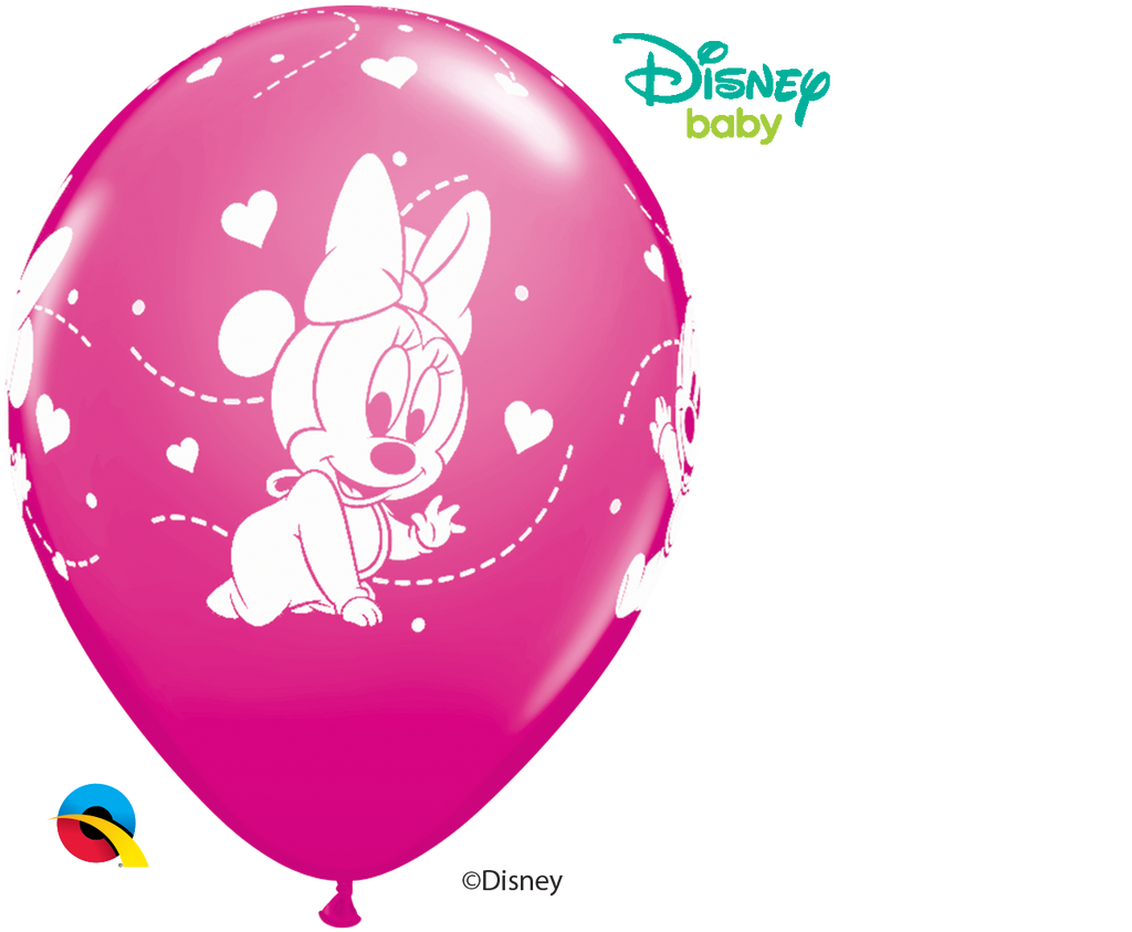 "Disney Minnie Mouse Baby Hearts Wild Berry 11"" Balloons"