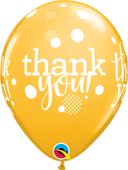 "Thank You Dots Upon Dots Fashion Goldenrod 11"" Balloons"