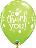 "Thank You Dots Upon Dots Fashion Lime Green 11"" Balloons"