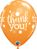 "Thank You Dots Upon Dots Orange 11"" Balloon"