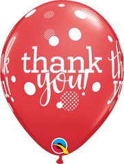 "Thank You Dots Upon Dots Red 11"" Balloon"