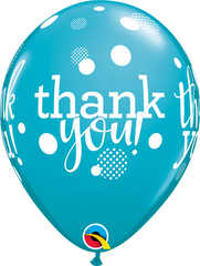 "Thank You Dots Upon Dots Fashion Tropical Teal 11"" Balloons"