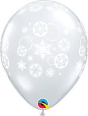 "Snowflakes & Circles Diamond Clear 11"" Balloons"