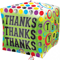 Polka Dotty Thanks Cube Balloon