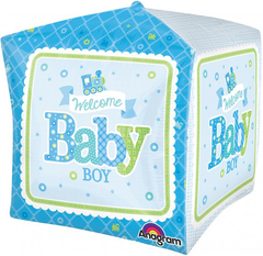 Welcome Baby Boy Train Cube Balloon