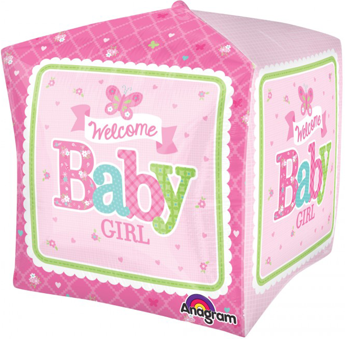 Welcome Baby Girl Butterfly Cube Balloon