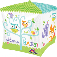 Adorable Woodland Animals Newborn Welcome Cube Balloon