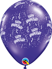 "Anniversary-A-Round Jewel Quartz Purple 11"" Balloons"