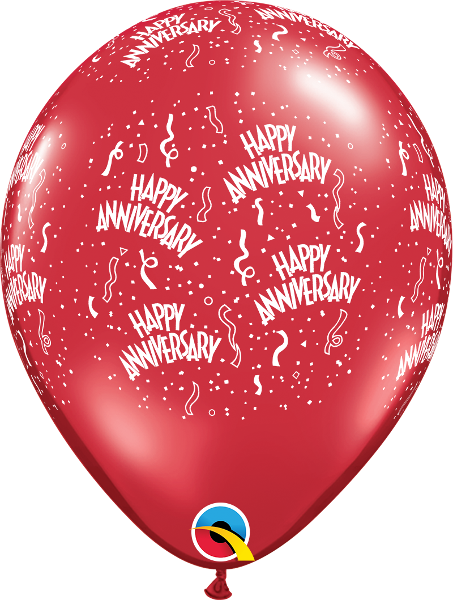 "Anniversary-A-Round Jewel Ruby Red 11"" Balloons"