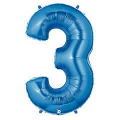 Blue Number 3 Megaloon Balloon Numbers