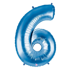 Blue Number 6 Megaloon Balloon Numbers