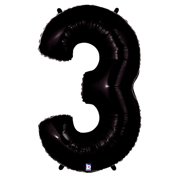 Black Number 3 Megaloon Balloon Numbers