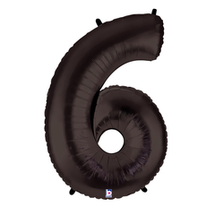 Black Number 6 Megaloon Balloon Numbers