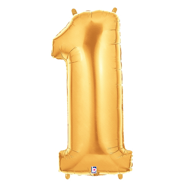 Gold Number 1 Foil Balloon Letters