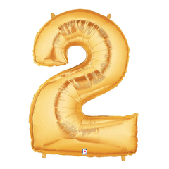 Gold Number 2 Foil Balloon Letters