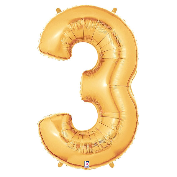 Gold Number 3 Foil Balloon Letters