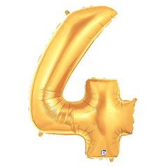 Gold Number 4 Foil Balloon Letters