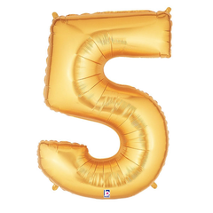 Gold Number 5 Foil Balloon Letters