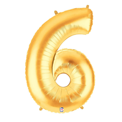 Gold Number 6 Foil Balloon Letters