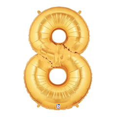 Gold Number 8 Foil Balloon Letters