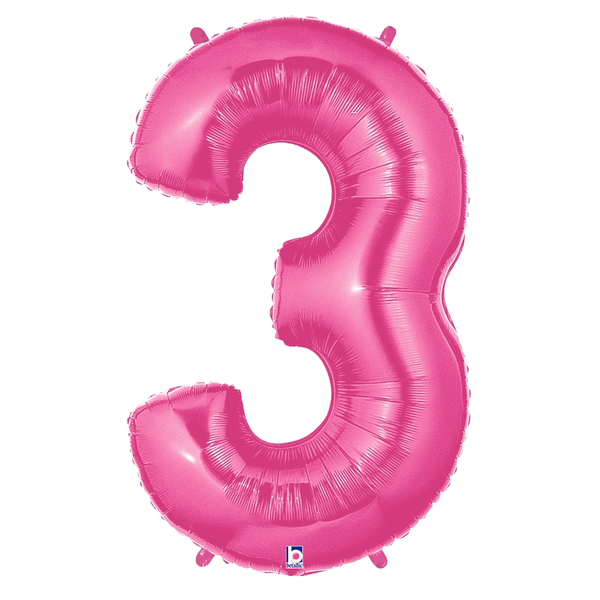 Pink Number 3 Megaloon Balloon Numbers