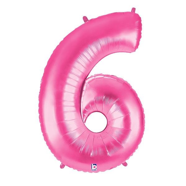 Pink Number 6 Megaloon Balloon Numbers