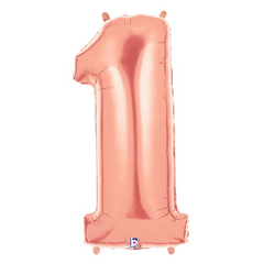 Rose Gold Number 1 Megaloon Balloon Numbers