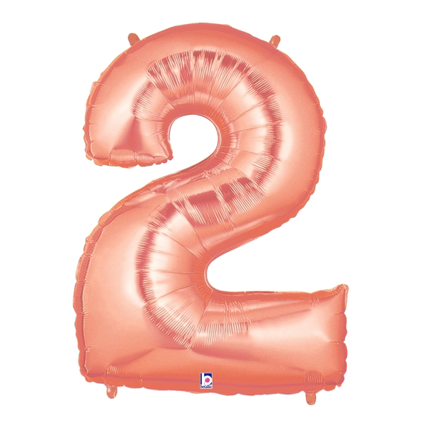 Rose Gold Number 2 Megaloon Balloon Numbers