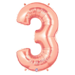 Rose Gold Number 3 Megaloon Balloon Numbers