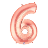 Rose Gold Number 6 Megaloon Balloon Numbers