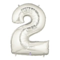 Silver Number 2 Foil Balloon Letters