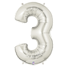 Silver Number 3 Foil Balloon Letters