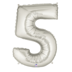 Silver Number 5 Foil Balloon Letters