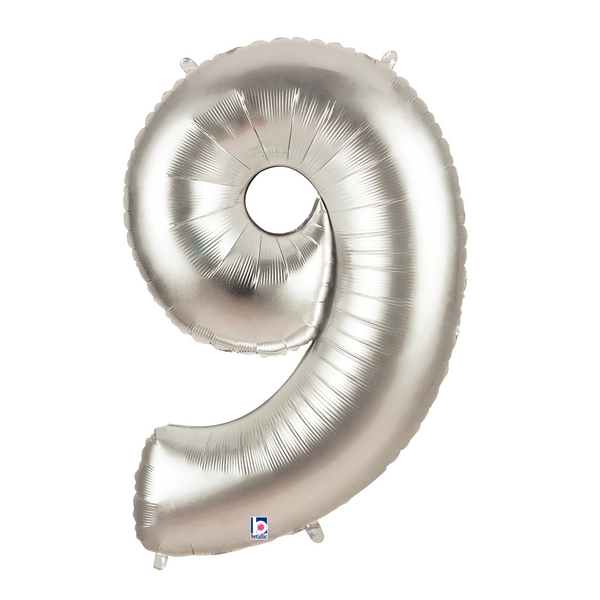 Silver Number 9 Foil Balloon Letters