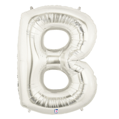 Silver Letter B Foil Balloon Letters