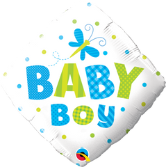 Baby Boy Dots & Dragonfly Balloon