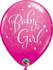 "Baby Girl Stars Fashion Wildberry 11"" Balloons"