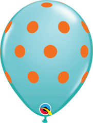 "Big Colorful Polka Dots Fashion Caribbean Blue 11"" Balloons"