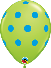 "Big Colorful  Polka Dots Fashion Lime Green 11"" Balloons"