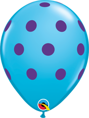 "Big Colorful  Polka Dots Fashion Robin's Egg Blue 11"" Balloons"