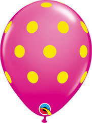 "Big Colorful  Polka Dots Fashion Wildberry 11"" Balloons"