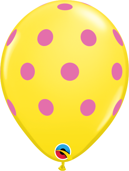 "Big Colorful Polka Dots Yellow 11"" Balloons"