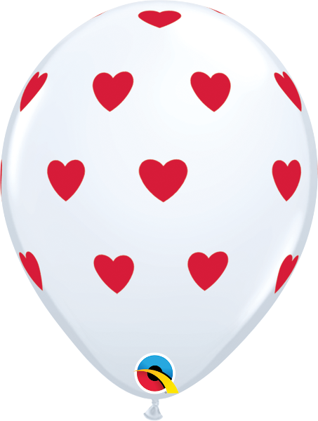 "Big Hearts White 11"" Balloons"