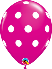 "Big Polka Dots Fashion Wildberry 11"" Balloons"