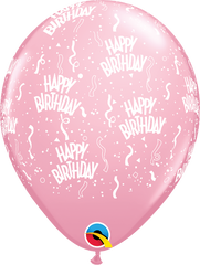 "Happy Birthday-A-Round Pink 11"" Balloons"