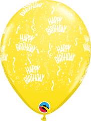 "Happy Birthday-A-Round Yellow 11"" Balloons"