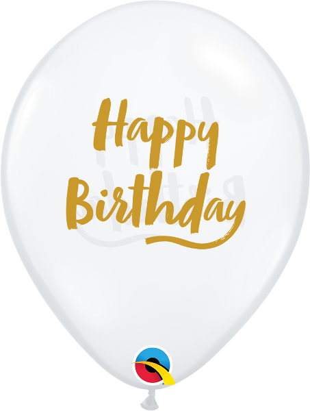 Happy Birthday Brush Script Balloons