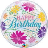 Happy Birthday Flowers & Filigree Bubble Balloon